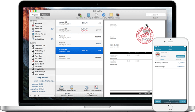 Invoices, Estimates, Quotes and Time-tracking with Billings