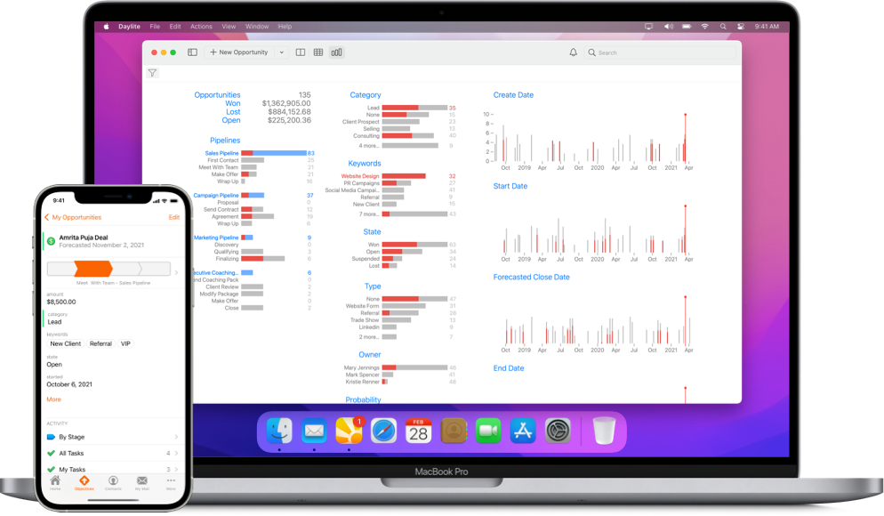Daylite's Opportunity pipeline report on a MacBook and pipeline progress view on iPhone
