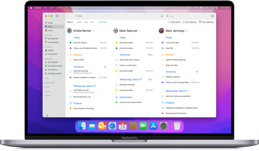 Daylite app's Team view on a MacBook with team's appointments and tasks coming up