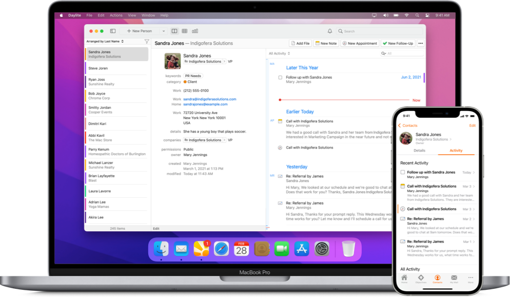 Daylite's Contact view on a MacBook showing recent emails, call notes, and follow up reminder