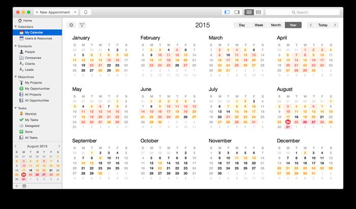 Year view calendar