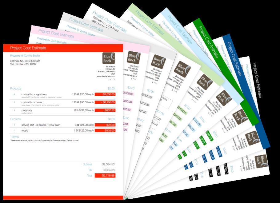 Image of 9 estimates showing 9 different colour options