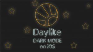 daylite logo for dark mode, neon lights and stars