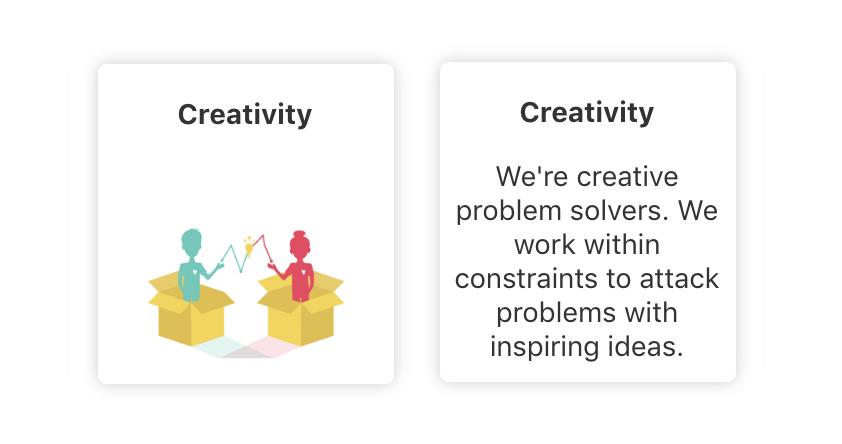 creativity icon and description, core values