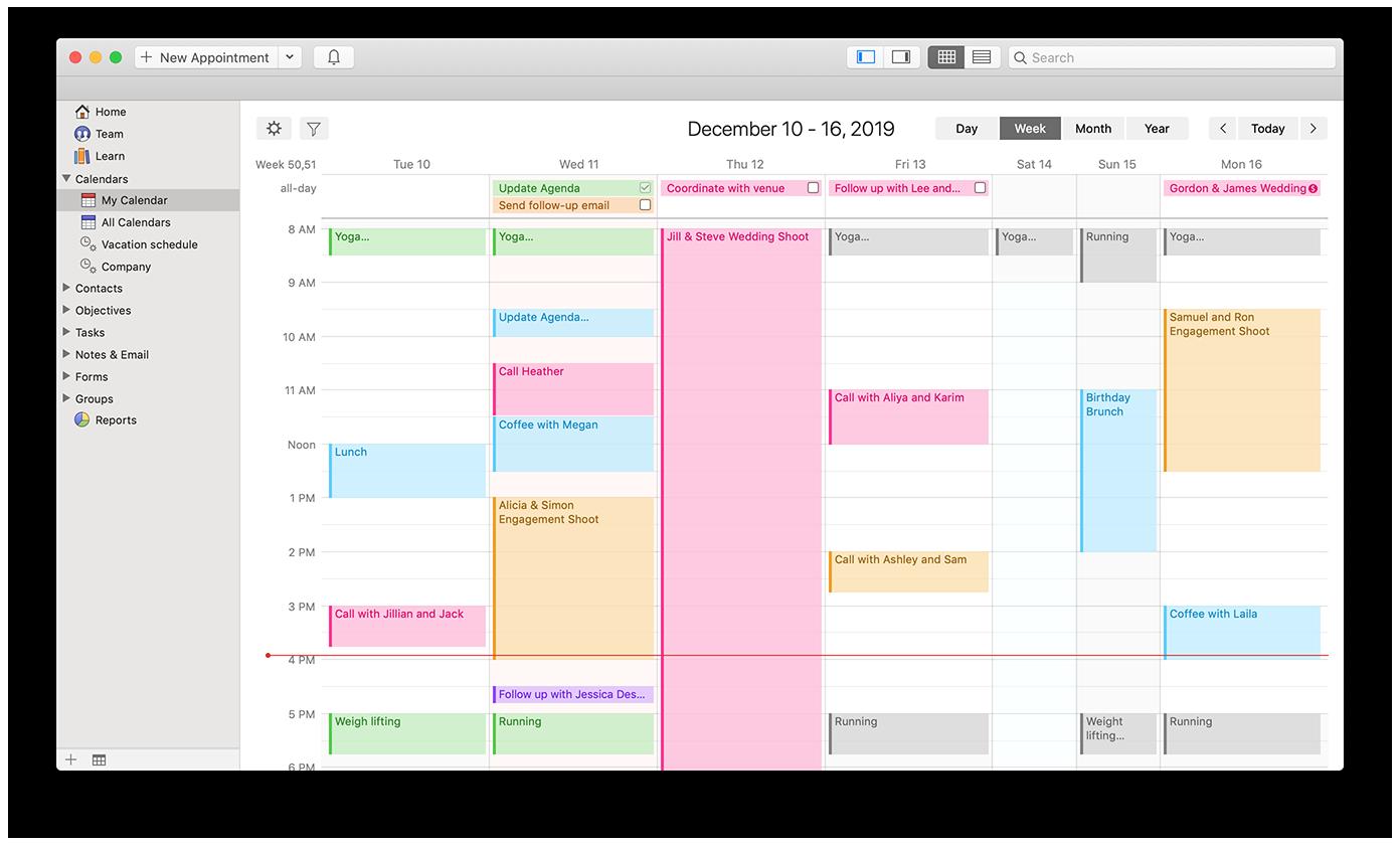 calendar week view for work/life balance