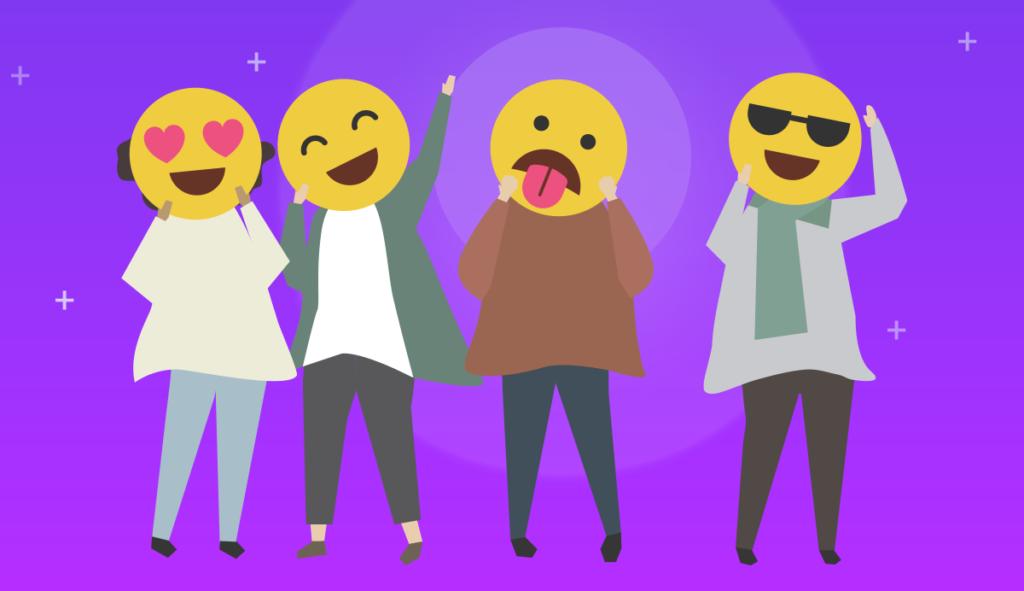 emojis showing various emotions on purple background