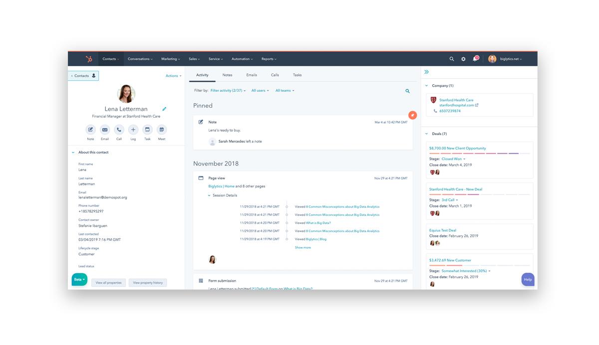 CRM Software Examples - HubSpot