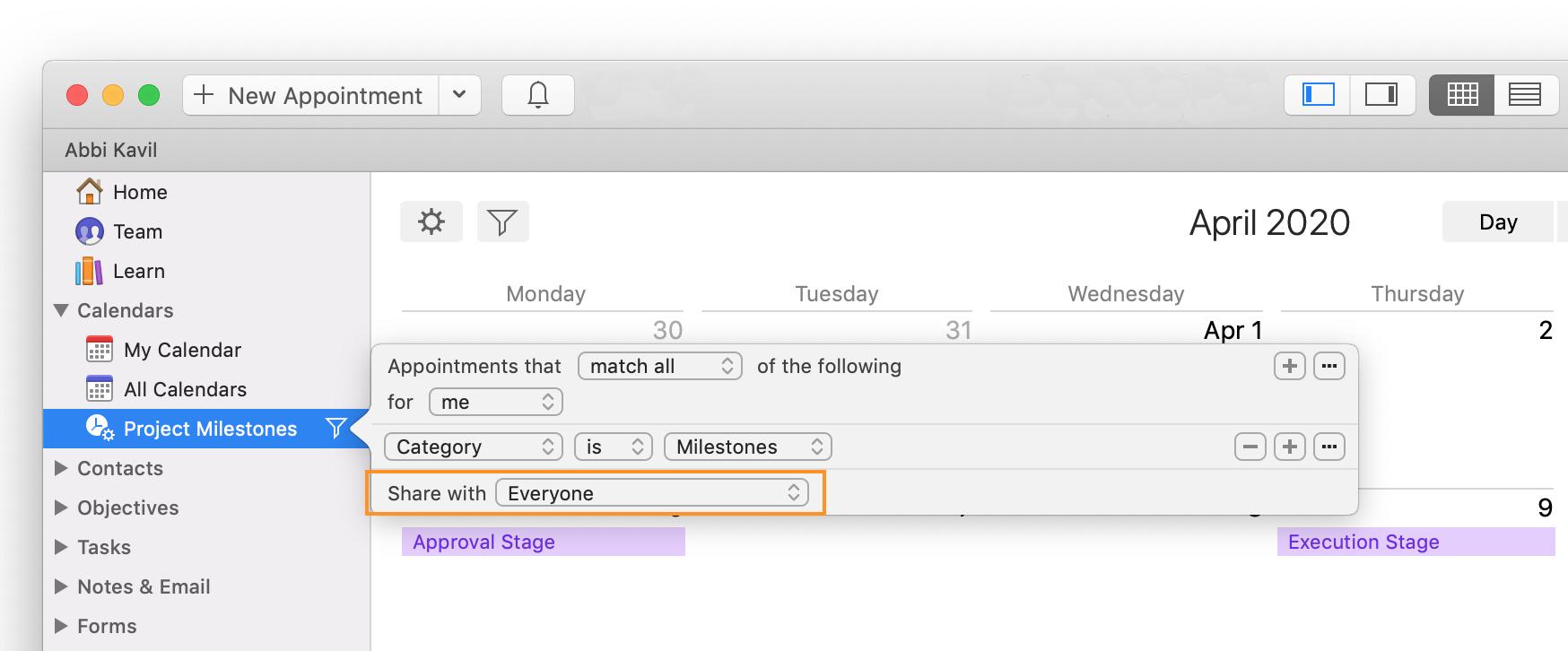 daylite mac crm smart list filter calendar