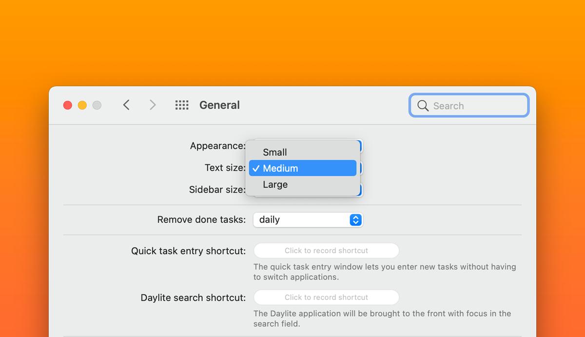 Adjust Text size in Daylite