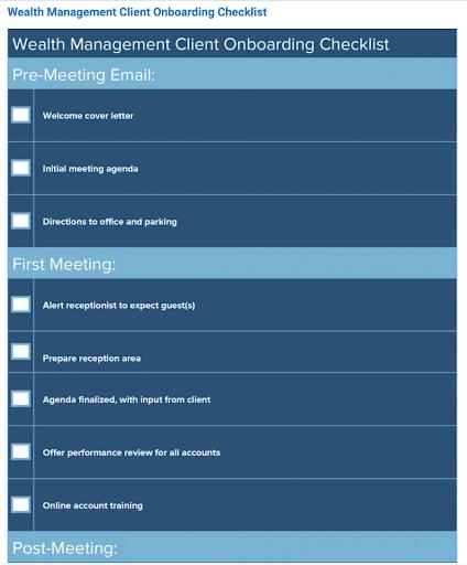 wealth management client onboarding checklist