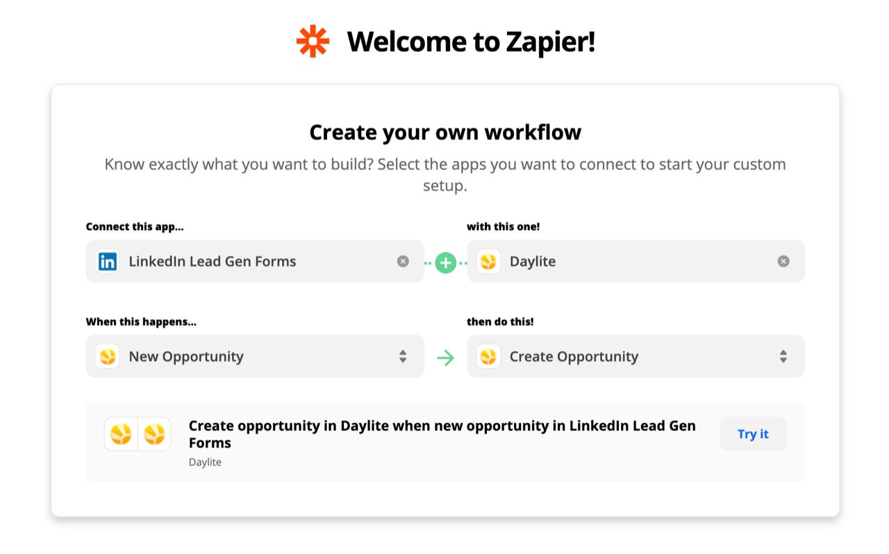 Screenshot shows Zapier's workflow menu showing connection between Linkedin and Daylite.