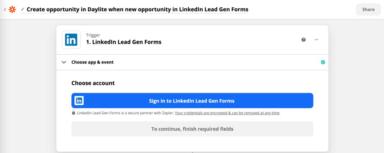 Screenshot shows Zapier's Linkedin lead gen forms connector menu.